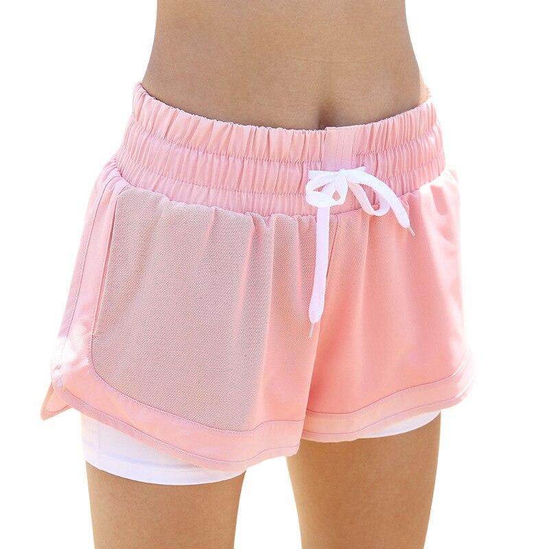 ①  Женские свободные двухэтажные шорты для йоги Сетка Дышащие беговые шорты для йоги Quick Dry Gym Fitn ✔