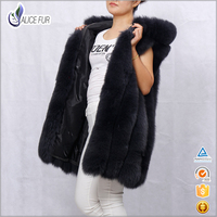 ALICEFUR High Quality Women Fox Fur Vest Hooded Sleeveless Long Solid Fox Fur Coat Winter Warm Thick Comfortable Fur Outerwear