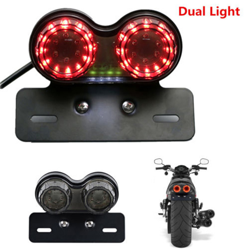 Motorcycle LED Light Twin Dual Turn Signal Brake License Plate Integrated Light One-piece Rear Taillight Modified Lamp Night