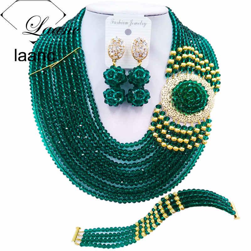 Laanc צבא ירוק אפריקני ביד שרשרת אופנה סט תכשיטי סטי תכשיטי כלה חתונה ניגרי DBPH003