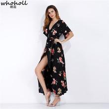 WHOHOLL 2019 Summer Chiffon Dresses Women V-neck Printed Sexy Beach Boho Split Sundress Female Long dress