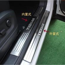 Автомобильный-Стайлинг из нержавеющей стали внутренняя+ Внешняя дверная пластины для порогов потертости педали Добро пожаловать педаль Крышка для Volkswagen VW Tiguan 2010