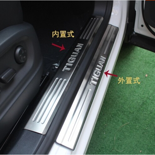 car styling stainless steel inner+outside Door sills plate scuff pedal welcome pedal cover for Volkswagen VW Tiguan 2010 2015