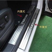Carro-estilo de aço inoxidável interno + fora da porta soleiras placa scuff pedal bem vindo pedal capa para volkswagen vw tiguan 2010-2015