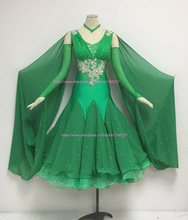 Dresses Dance Ballroom Women Modern Waltz Tango Dancing Skirt Green High Quality Custom Made Ballroom Competition Dress