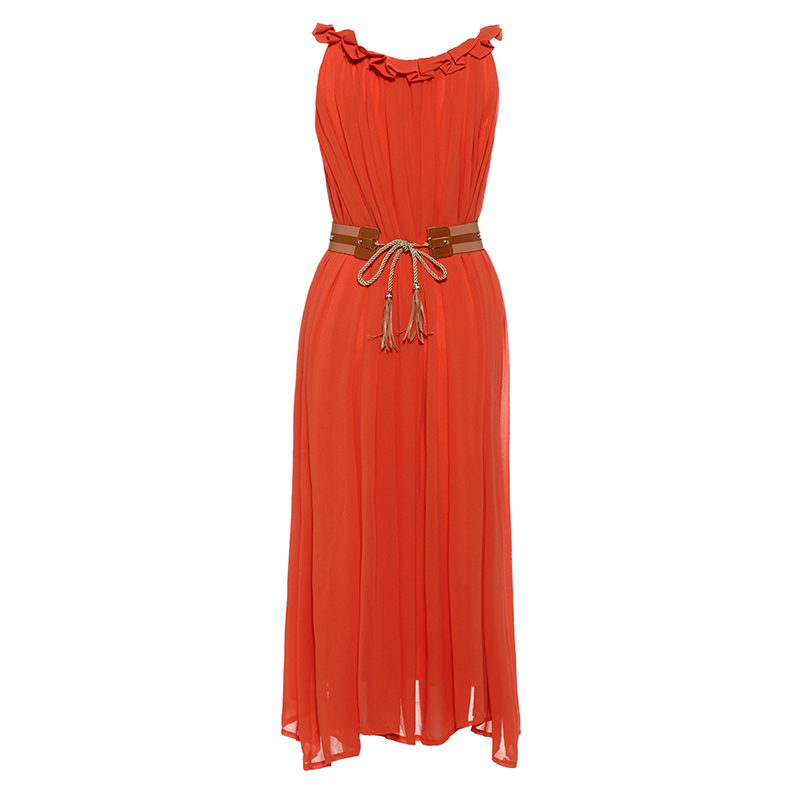Sisjuly Women Beach Dresses 2018 Summer Orange Plain Chiffon Spaghetti Strap Slash Seck A Line Pu Belted Elegant Beach Dress