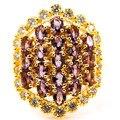 8 # Классический Стиль Аметист, CZ SheCrown женщины Свадьба Создания Золото Серебро Кольцо 25 х 20 мм