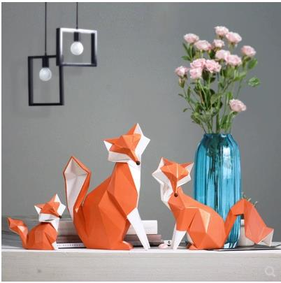 Nordic Fashionable Summary Geometric Fox Crafts, Desktop Ornaments, Artistic Workplace Dwelling Decorations