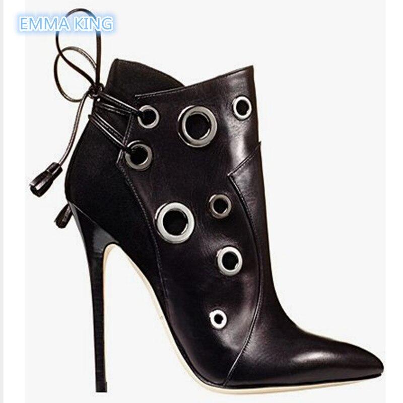 2019 nouveau daim cuir Patchwork bottines femmes bout pointu Stilettos Martin bottes trous ronds à lacets Designer chaussures femme