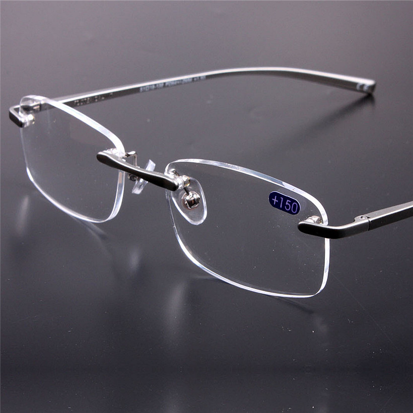 Frameless Glasses Pics : Frameless Glasses Reading Glasses Women Men HD Lens Round ...