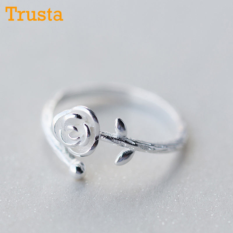 ad81005a04 Trusta 100% 925 Solid Real Sterling Silver Jewelry Rose Flower Opening Adjustable  Ring Size 5