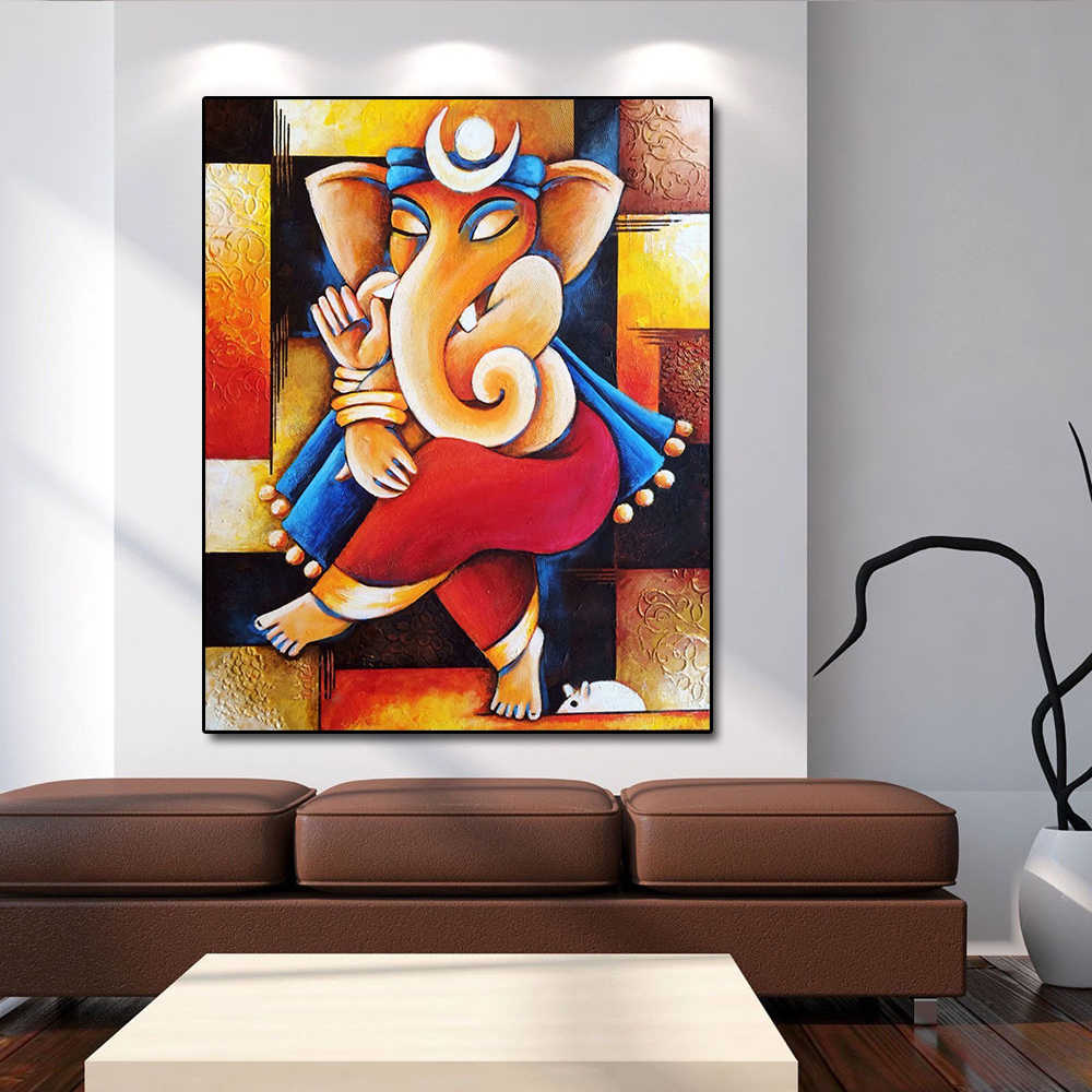 Buddha Large Indian Art Painting Collection Ganesha Posters and Prints Wall Art Picture for Living Room Home Decor No Frame