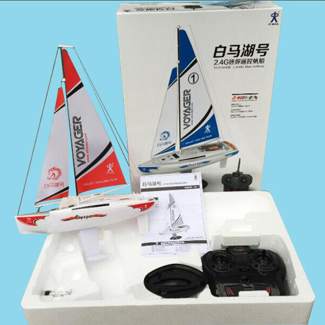 Free shipping Voyager 2.4G Mini RC Sailboat Sailing Electric ship Model Yacht Handmade Boat Toys Children Gift