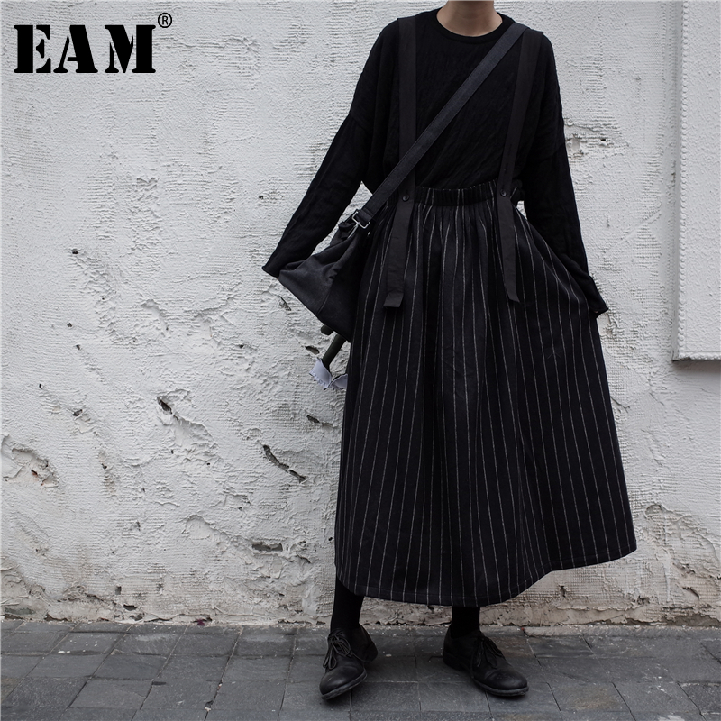 [EAM] High Quality 2019 Spring Black Striped Spliced Fashion New Wild Women's Adjustable Two Wear Straps Skirt LA833
