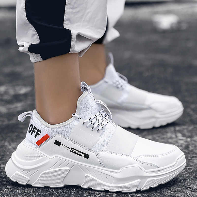 Men's Sports Shoes Summer White Sneakers Man Plus Size 45-46 Lace-Up Chunky Shoes Casual Comfortable Rubber Shoes Boys