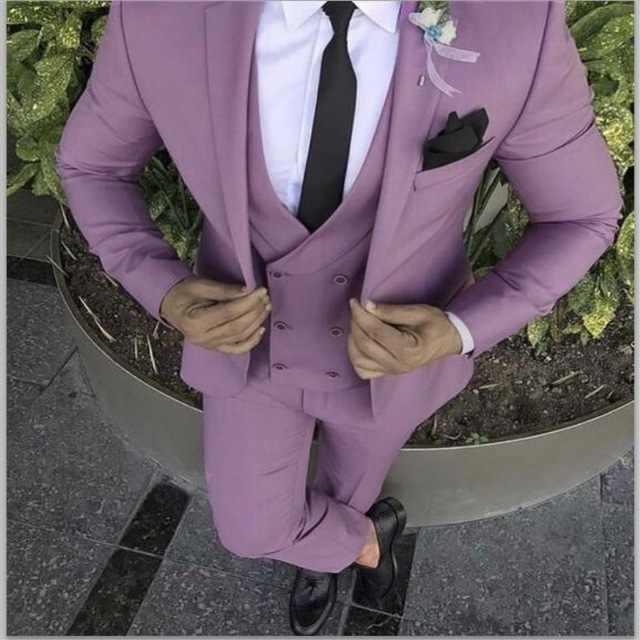 2018 最新コートパンツデザインパープルピンク男性スーツスリムフィット新郎タキシード 3 ピースカスタム結婚式はウエディングブレザー terno Masculino