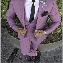 Groom Tuxedo Blazer Wedding-Suits Pant-Design Slim-Fit Custom Pink Purple 3piece Masculino