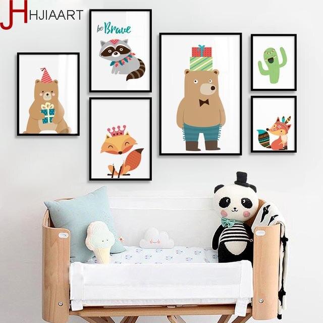 HJIAART Cartoon Native Indijska živalska platna slikarstvo za otroka - Dekor za dom
