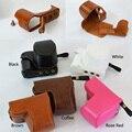 Cuero de la pu caja de la cámara para sony alpha a6000 a6300 16-50mm lente bolso retro de la vendimia con apertura de la batería caso
