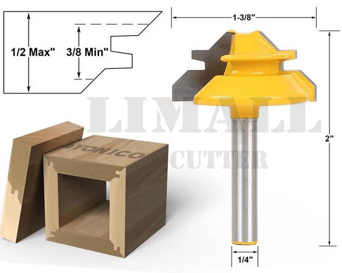 SHK:6.35mm -Woodworking Milling Cutter Tools Puzzle Wood Cutter Combination 45 Degree Tenon Cutter Knife- 1/4X1-3/8inch