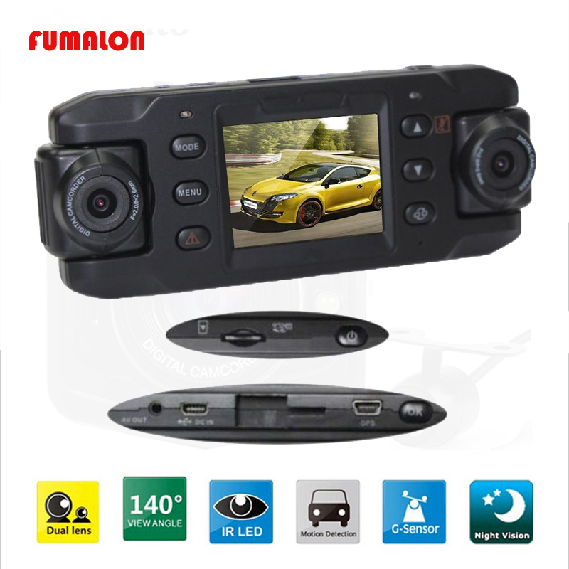 Original Dual Lens <font><b>Car</b></font> <font><b>Camera</b></font> X8000 Full HD 1080P <font><b>With</b></font> GPS Tracker <font><b>Two</b></font> Lens Vehicle <font><b>Car</b></font> <font><b>DVR</b></font> Dash Cam Recorder G-sensor CA365 image