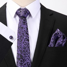 Polyester Paisley Floral Neck Tie for Men Gift For Hanky Cufflinks Sets Pocket Square Handkerchief