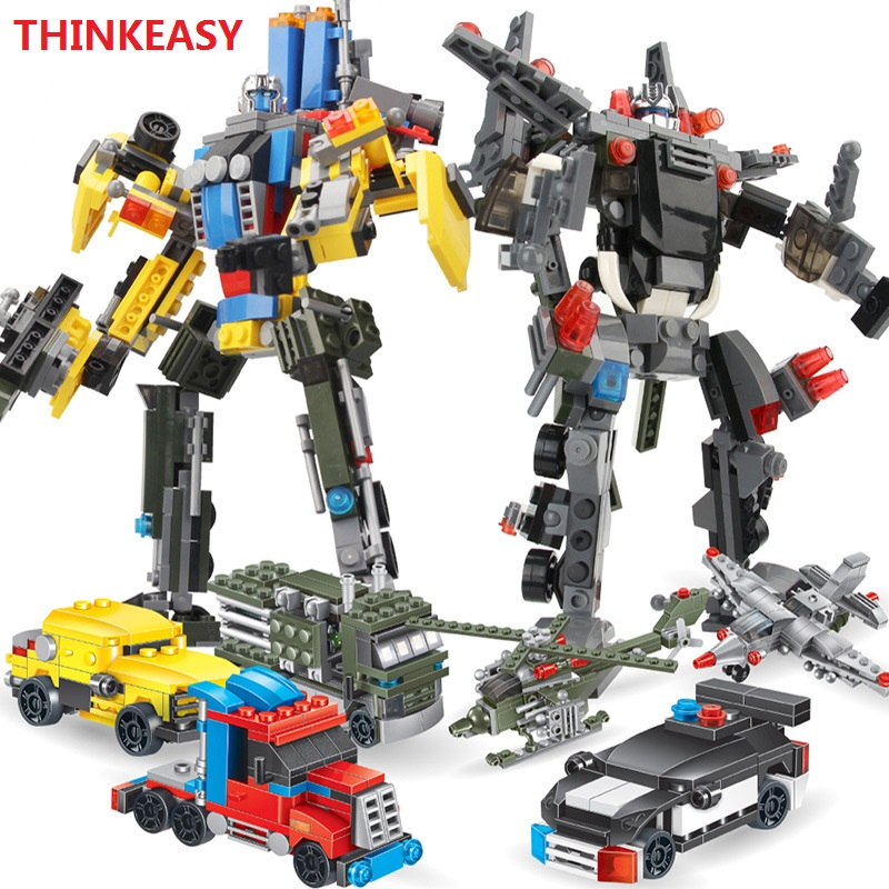 ThinkEasy 6 PCS/Set Puzzle Transformation Robot Cars Prime Bruticus Toys Action Figures Block Toys For Kids Birthday Gifts 8pcs set the octonauts cartoon action figures kids toys captain barnacles medic peso model children birthday gifts with box