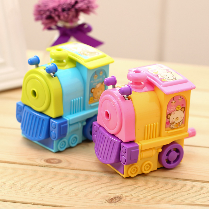 1 Pc ABS Plastic Pencil Sharpeners For Students Cartoon Train 138x80x116mm Mechanical Pe ...