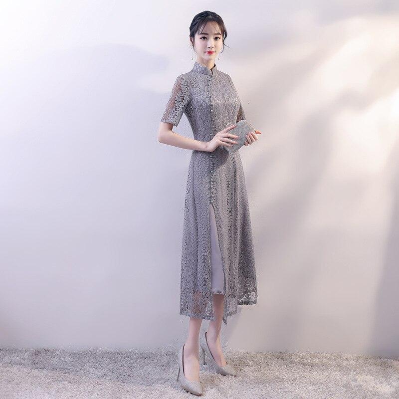 New Arrival Chinese Style Gray Lace Dress Women Slim Long Qipao Mandarin Collar Short Sleeve Cheongsam Size S M L XL XXL jones new york new gray sleeveless women s size 1x plus sheath dress $109