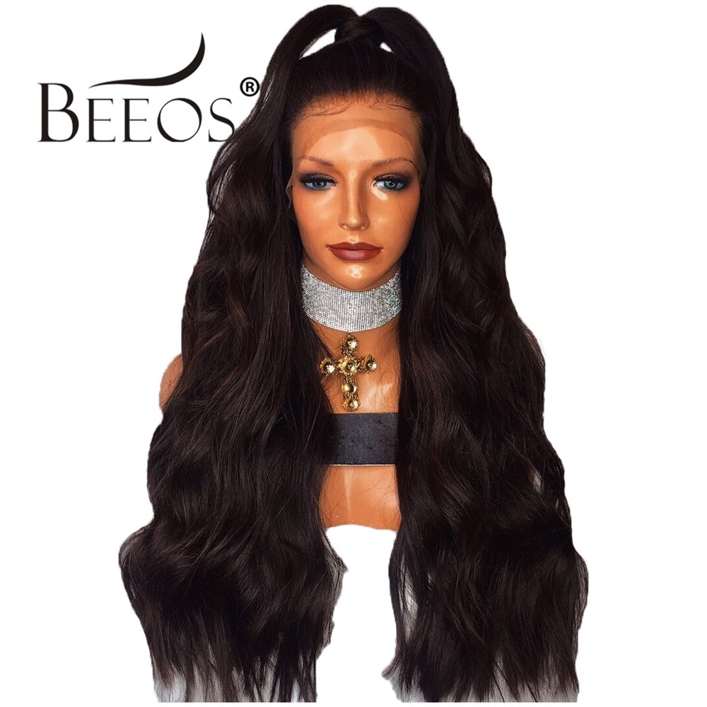 Beeos 250% Density Brazilian Remy Hair Wigs 13*6 Lace Front Human Hair Wigs for Women Deep Middle Part Long Wavy Wig Pre Plucked