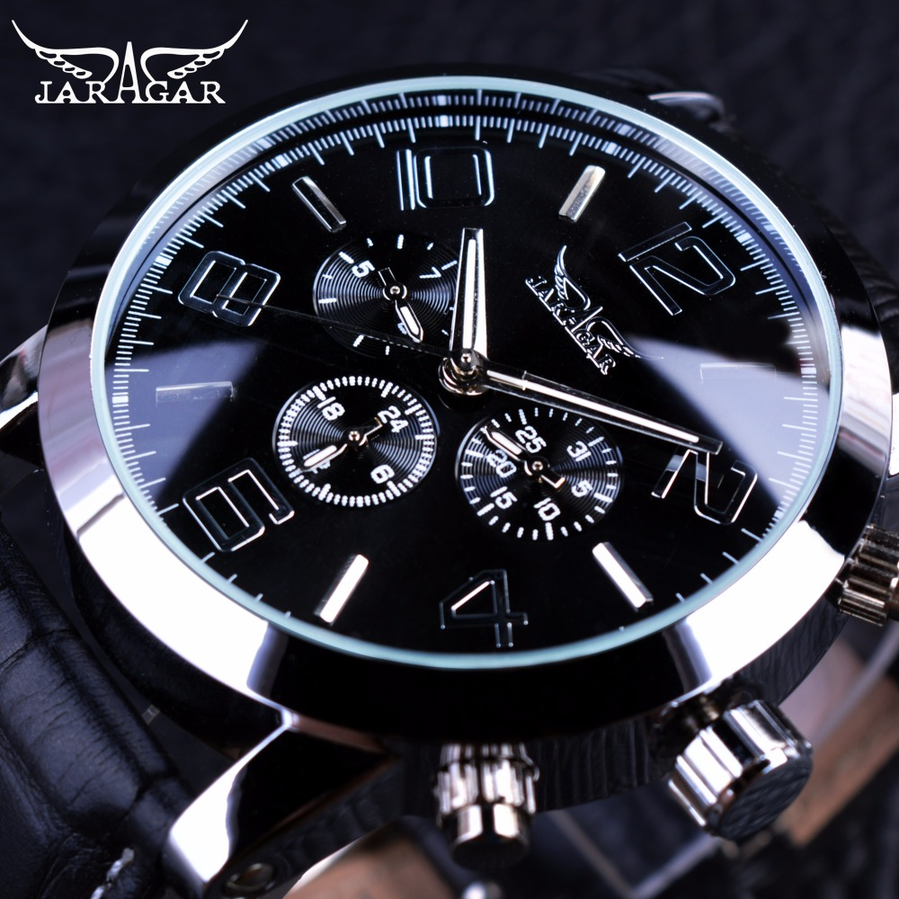 где купить Jaragar 3 Dial Calendar Display Men Business Series Silver Case Men Watch Top Brand Luxury Genuine Leather Strap Automatic Watch по лучшей цене
