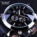 Jaragar 3 Dial calendario pantalla hombres serie de negocios de caso de los hombres reloj superior de la marca de lujo de cuero genuino correa de reloj automático