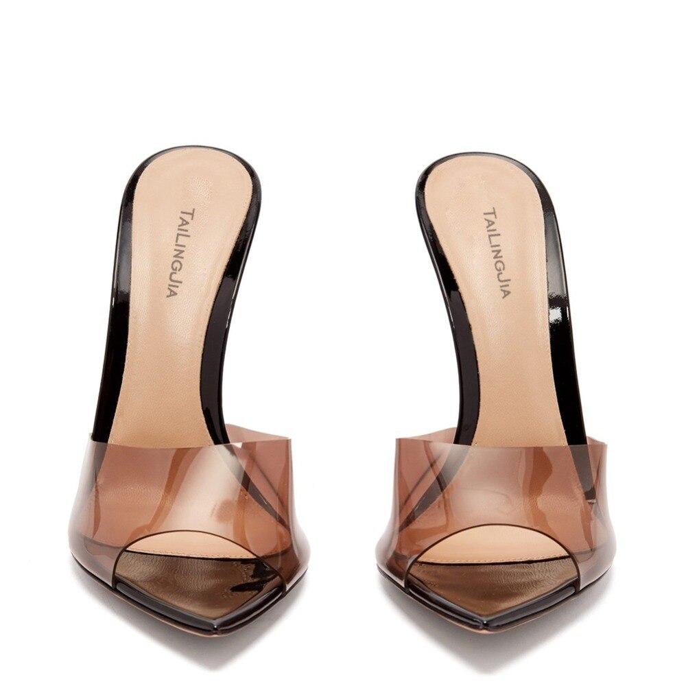 Moda sexy senhoras de salto alto apontou dedo do pé aberto deslizamento na festa stiletto salto alto claro mula slides mulher nu pvc sapatos transparentes - 2
