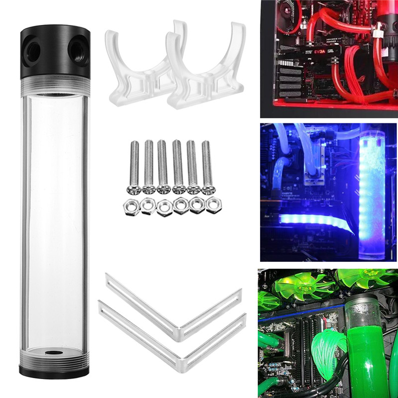 Computer CPU Water Cooling 50mm x 400mm Acrylic Cylinder Reservoir Helix PC Water Liquid Cooling Tank G1/4 T Water Cooling Kit