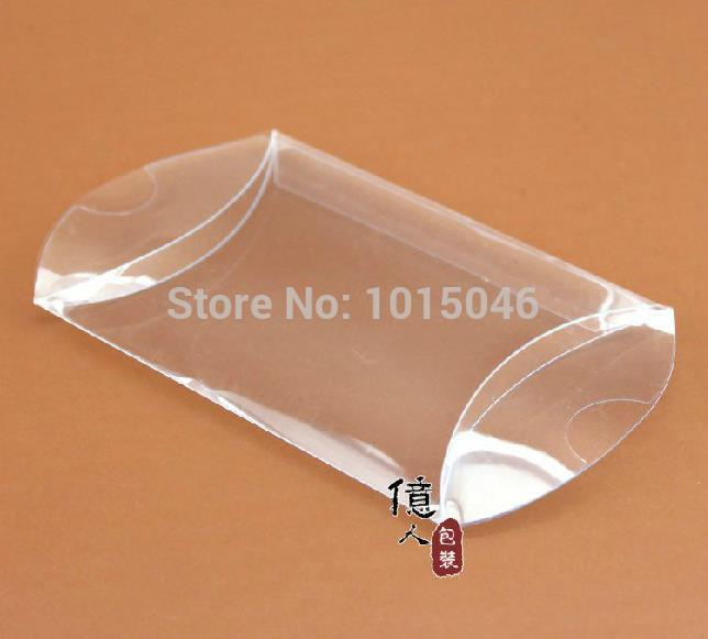 Free Shipping 50X Clear PVC Pillow Shape Candy Boxes Wedding Favor Box Baby Shower Gift Box