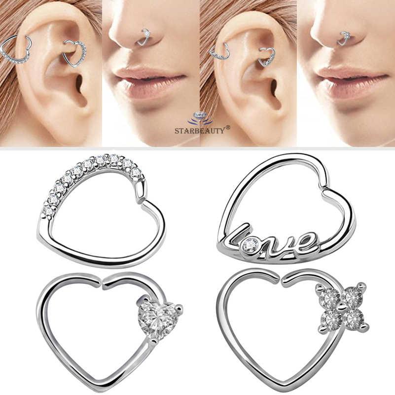 Starbeauty 2pcs Lot Left Right Ear Piercing Gem Heart Helix Piercing Tragus Piercing Orelha Nose Ring Aaa Zircon