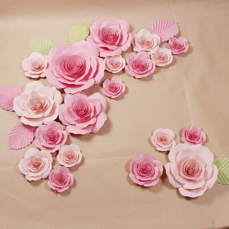 21 unids flores + 6 unids hojas grandes flores de papel gigante para - Para fiestas y celebraciones