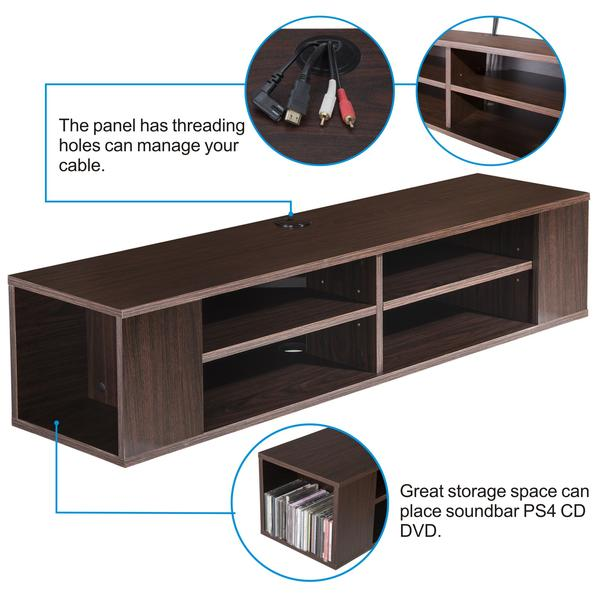 TV console wall mounted floating Wall Mount Media Console Storage Floating Wall Mounted Shelf for AV Receive, DS212001WB