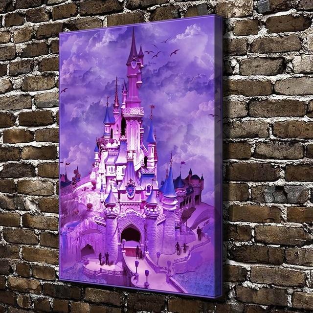 98eb3f8113 Z9012 Bella Viola Castello Paesaggio, HD Stampa Su Tela decorazione della  Casa di Arte Camera