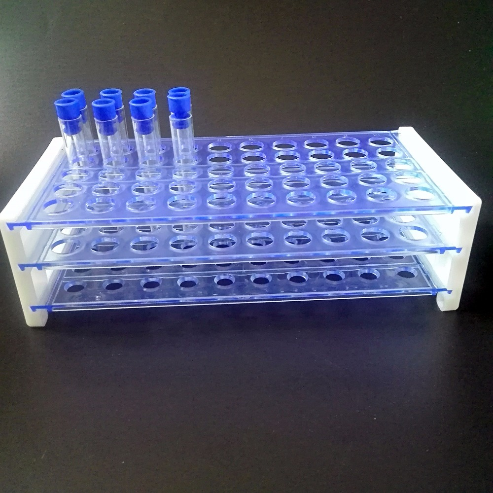 laboratorinis plastikinis mėgintuvėlių stovas 13 mm vamzdžiams, 50 skylė, nuimamas, nemokamas pristatymas