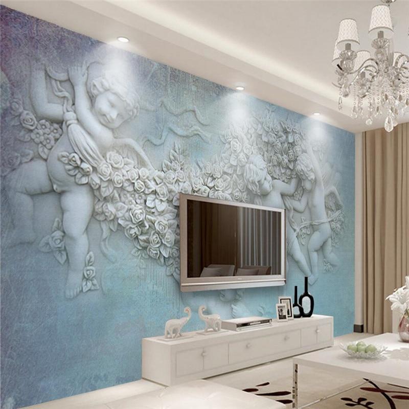 US $15.5 |Benutzerdefinierte Jeder Größe Moderne Tapeten Wohnzimmer  Hintergrund Engel Relief Art Wandverkleidung Restaurant Wohnkultur Wandbild  ...
