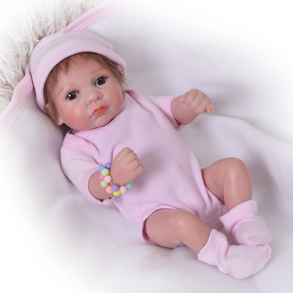 Cute 11'' Babies Reborn Dolls Full Silicone vinyl Body Mini Baby Toys Realistic Peanut Girl Gifts Kids Playmate Newborn Doll fashion babies newborn 23 realistic dolls full silicone vinyl lifelike dolls reborn baby toy for girl playmate birthday gifts