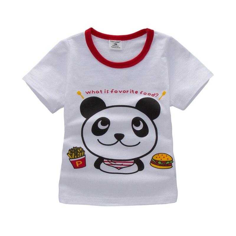 1-6years Ragazzi E Ragazze Manica Corta T Shirt Con Panda Del Fumetto Delle Ragazze Maglietta Del Fumetto Dei Capretti T-shirt Di Moda Nova Top