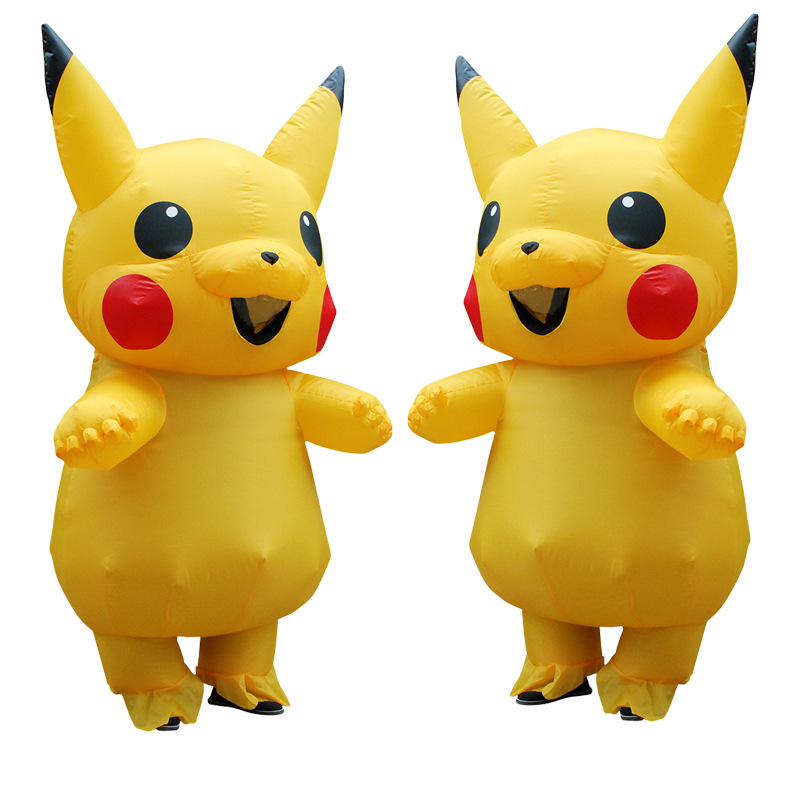 Pikachu Inflatable Costume Adult Christmas Pokemon Large Mascot Cosplay Halloween Costumes for Women Men Purim Carnaval Clothes