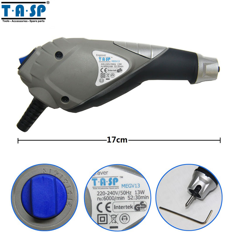 TASP 13W Engraving Pen Electric Engraver with a Carbide Steel Tip for Metal Wood Plastic Glass