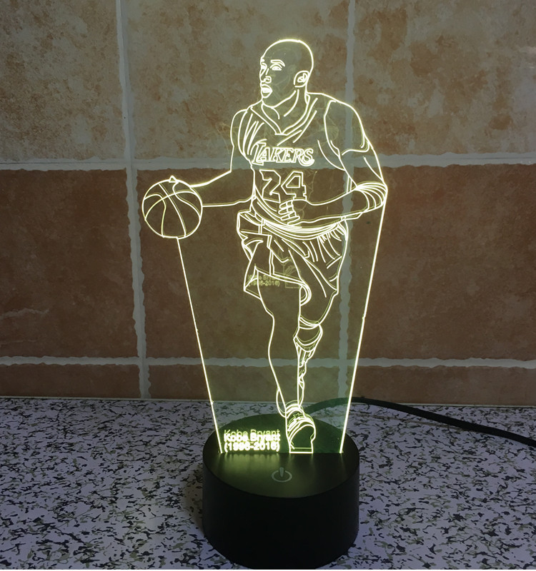 7color changing 3D Bulbing Light Kobe Bean Bryant visual illusion LED lamp creative action figure toy Christmas gift