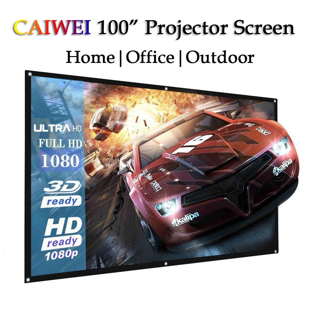 Amzdeal Foldable 220*130cm Light 100 inch 16:9 Ratio Polyester Movie Projection Screen Film Home Outdoor Theater