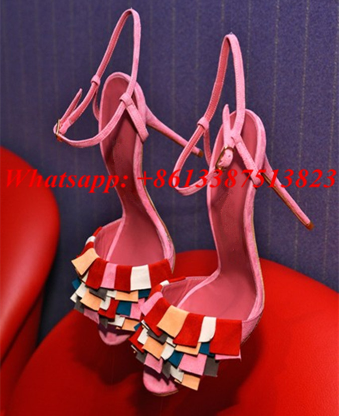 Fringe Mixed Color Ankle Strap Sandals Women Fashion Party Shoes Open Toe Shallow Cut-Outs Stiletto High Heels Sandalias Mujer