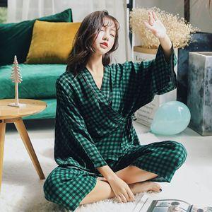 Image 4 - Женские пижамные комплекты, комплект из 2 предметов, весенний женский топ и штаны, повседневные кимоно с длинным рукавом, рубашки и штаны, женские пижамы, домашний костюм