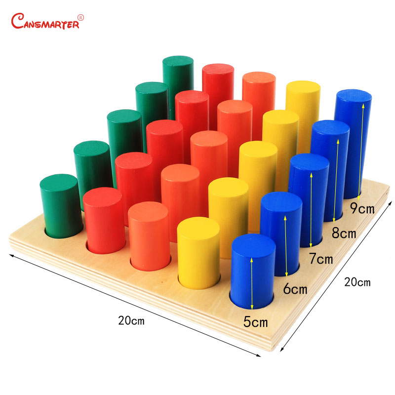 Montessori Sensoiral Toys Geometric Steps Cylinder Maths Toddlers Kingarten Color Training Educational Toy for Children SE041-3